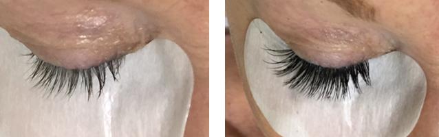 Wimpernverlängerung mit Fake Lashes Vorher-Nachher-Bild